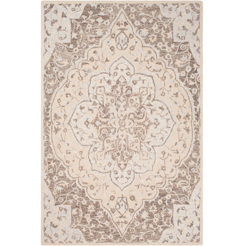 8' x 10' Leaf Medallion Pattern Brown and Gray Rectangular Hand Tufted Wool Area Throw Rug - IMAGE 1