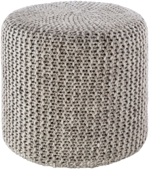 """18"""" Gray Knitted Style Cylindrical Pouf Ottoman - IMAGE 1"""