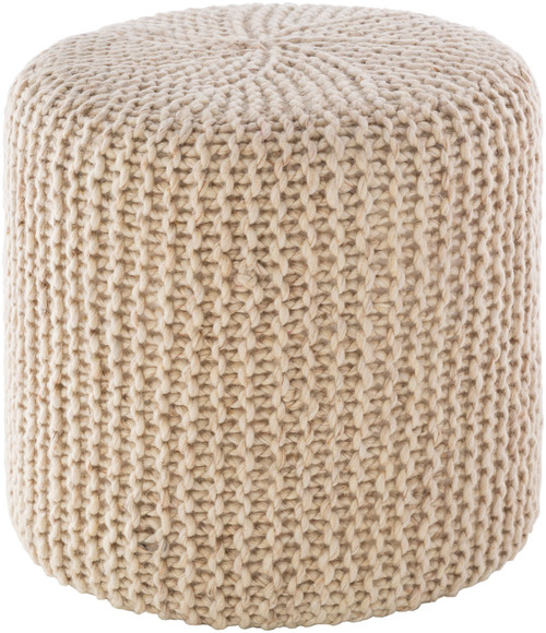 """18"""" Ivory Knitted Style Cylindrical Pouf Ottoman - IMAGE 1"""