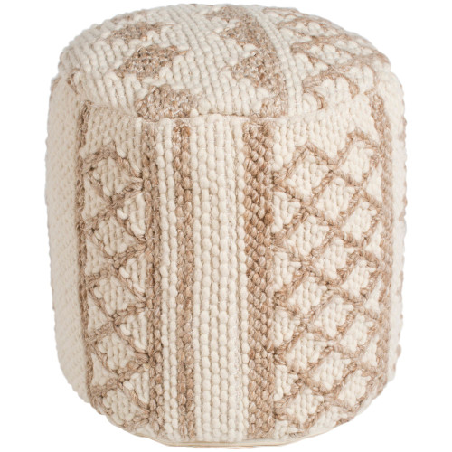 """16"""" Ivory and Beige Geometric Cylindrical Pouf Ottoman - IMAGE 1"""