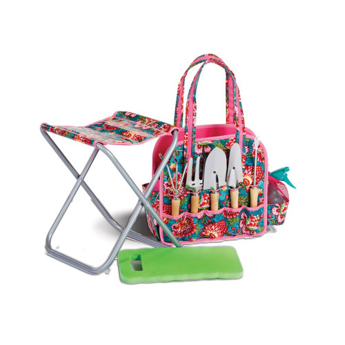"""20"""" Pink and Blue Floral Design Deluxe Garden Tote Bag with Hand Held Tools and Stool - IMAGE 1"""