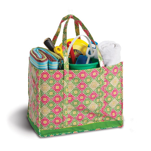 """19"""" Decorative Green and Pink Eco-Friendly Reusable Tote Bag - IMAGE 1"""