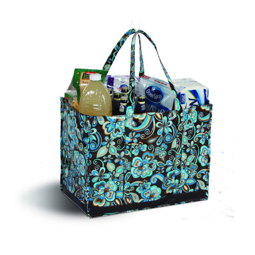 """19"""" Decorative Blue and Brown Eco-Friendly Reusable Tote Bag - IMAGE 1"""