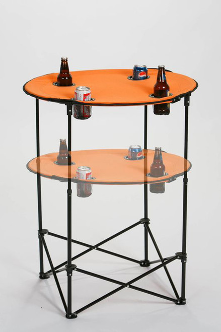 "36"" Round Orange Adjustable Scrimmage Tailgate Table - IMAGE 1"