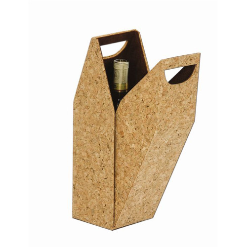 """15"""" Brown Wine Single Bottle Suede-Lined Cork Design Carrying Box - IMAGE 1"""