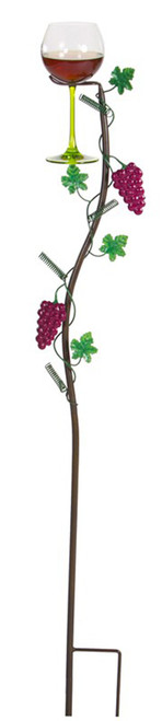 """38"""" Hand Painted Grapevine Wine Glass Holder Garden Party Lawn Stakes - IMAGE 1"""