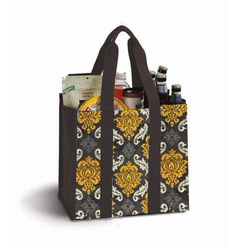 """13"""" Laminated Canvas Reusable Tote Bag in Yellow and Brown Floral Print - IMAGE 1"""