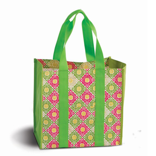 """13"""" Laminated Canvas Reusable Tote Bag in Pink and Green Floral Print - IMAGE 1"""
