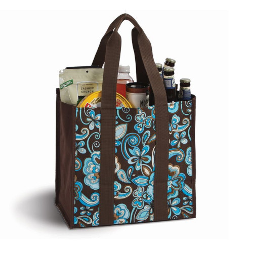 """13"""" Laminated Canvas Reusable Tote Bag in Blue and Brown Floral Print - IMAGE 1"""