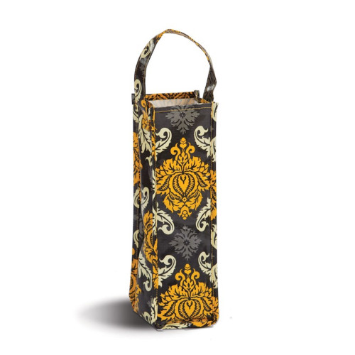 """Pack of 2 Black & Yellow Canvas Eco-Friendly Reusable Wine Bottle and Gift Tote Bag 14"""" - IMAGE 1"""