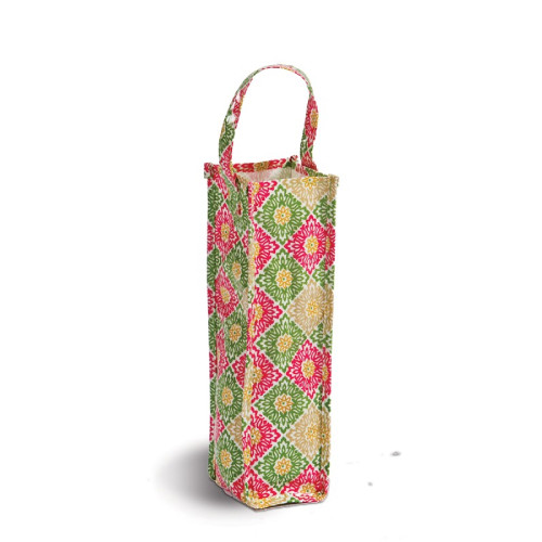 """Pack of 2 Pink & Green Canvas Eco-Friendly Reusable Wine Bottle and Gift Tote Bag 14"""" - IMAGE 1"""