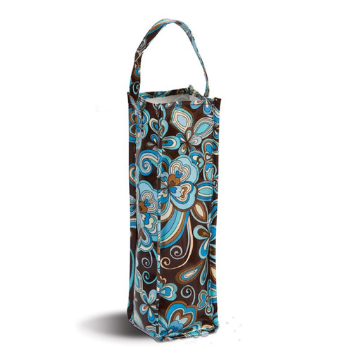 """Pack of 2 Brown & Blue Canvas Eco-Friendly Reusable Wine Bottle and Gift Tote Bag 14"""" - IMAGE 1"""