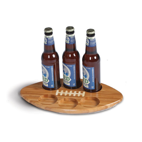 "14"" Brown Bamboo Football-Shaped Beer Flight or Bottle Serving Tray - IMAGE 1"