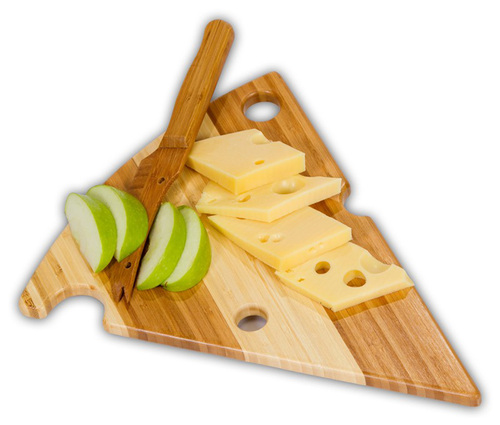 "14"" Eco-Friendly Alpine Bamboo Swiss Cheese Cutting Board and Matching Knife Set - IMAGE 1"
