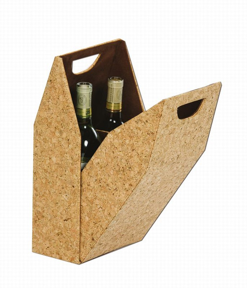 """15"""" Brown Liquor Double Bottle Suede-Lined Cork Design Carrying Box - IMAGE 1"""