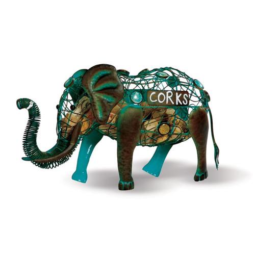 "14"" Blue and Copper Patina Elephant Animal Wine Cork Caddy Holder - IMAGE 1"