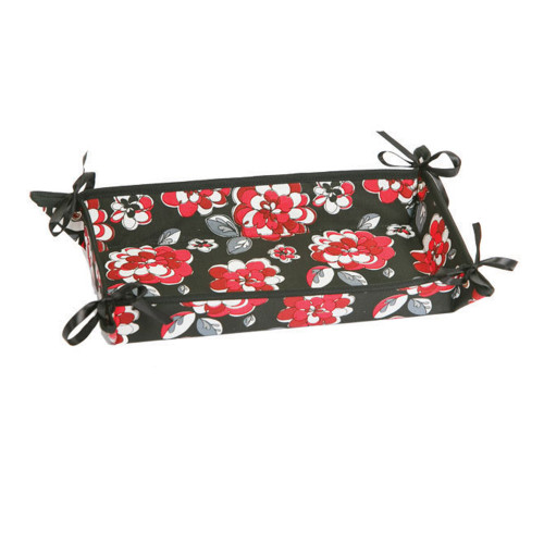 """13"""" Thermal Red Floral Carnation Print Fabric Dessert or Appetizer Tray - IMAGE 1"""