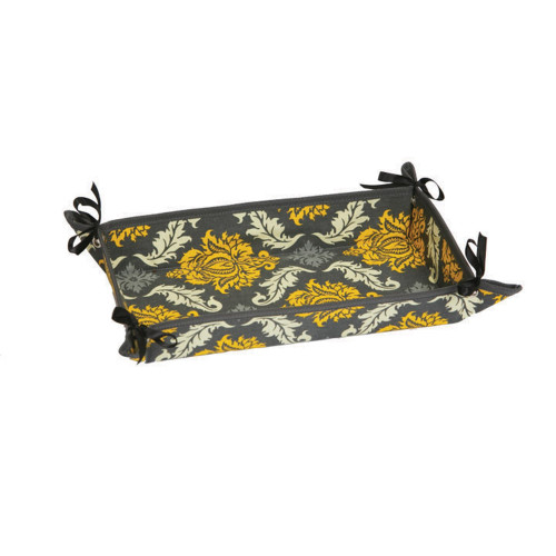 """13"""" Black and Yellow Thermal Damask Flair Print Fabric Dessert or Appetizer Tray - IMAGE 1"""