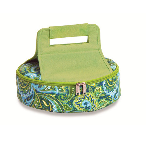 """11"""" Paisley and Swirl Green Insulated Lunch and Picnic Tote - IMAGE 1"""
