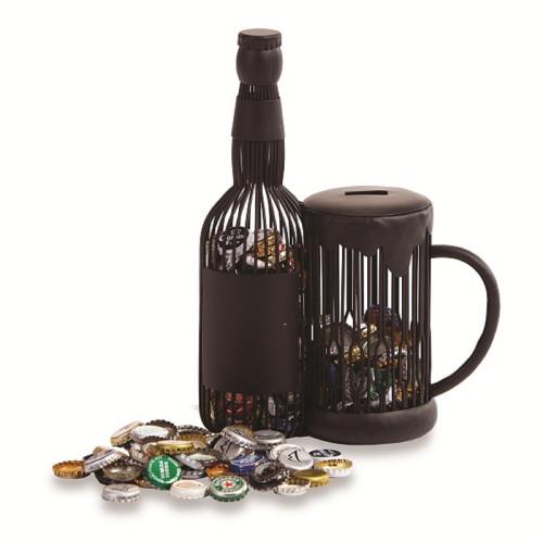 """12"""" Brown Steel Caged Mug and Bottle Beer Cap Holder - IMAGE 1"""