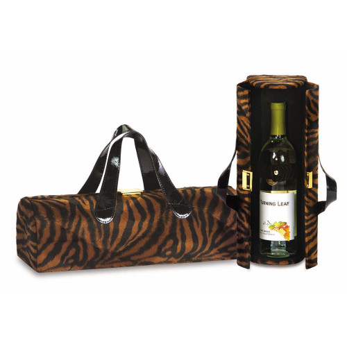 """14"""" Brown and Black Fashion Avenue Single Wine Bottle Carrier Clutch - IMAGE 1"""