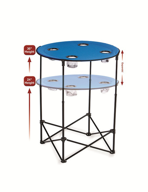 """36"""" Round Royal Blue Adjustable Scrimmage Tailgate Table - IMAGE 1"""