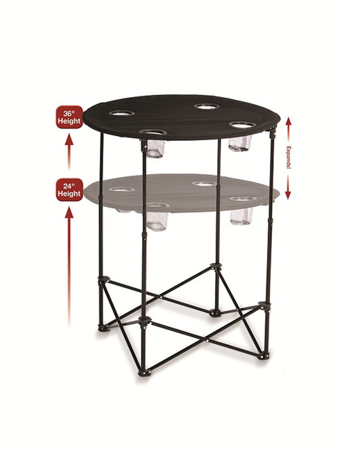 """36"""" Expandable Black Scrimmage and Tailgating Drink Holding Table - IMAGE 1"""