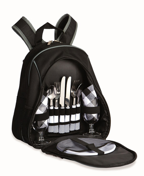 """14"""" Black Utensil Equipped 2 Person Picnic Backpack - IMAGE 1"""