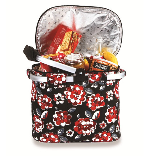 """14"""" Insulated Collapsible Black and Red Floral Lunch Bag Tote - IMAGE 1"""