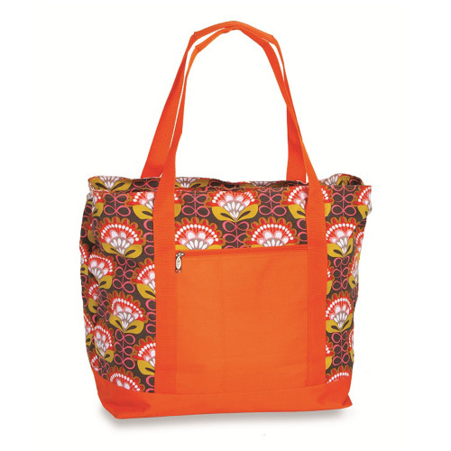 """20"""" Orange and Brown Wet and Dry 2-in-1 Insulated Cooler Bag - IMAGE 1"""