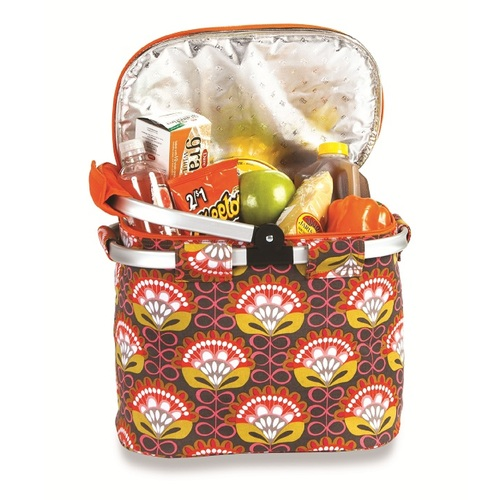 """14"""" Insulated Orange, Pink and Brown Floral Flower Power Folky Lunch Bag Tote - IMAGE 1"""