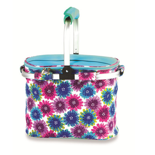 """14"""" Pink ad Blue Insulated Collapsible Floral Lunch Bag Tote - IMAGE 1"""