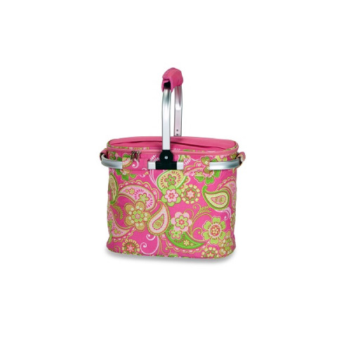 "14"" Insulated Pink and Green Paisley Cooler Lunch Tote Bag - IMAGE 1"