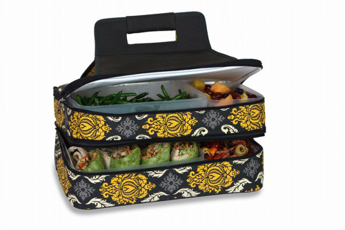 """18"""" Black Yellow and Gray Expandable Hot and Cold Food Carrier - IMAGE 1"""