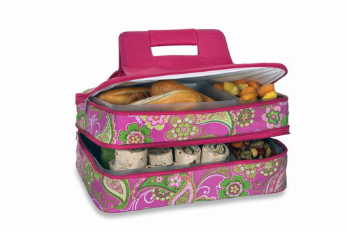 """18"""" Pink and Green Expandable Hot and Cold Food Carrier - IMAGE 1"""