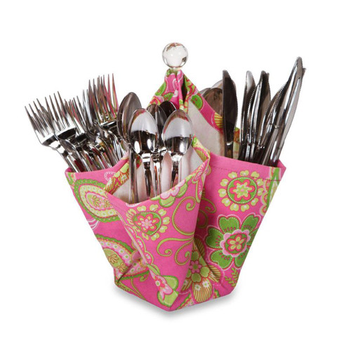 """12"""" Fashionable 4-Pocket Fabric Utensil & Condiment Caddy - Pink/Green Floral - IMAGE 1"""