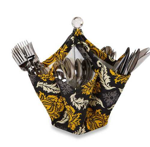 """12"""" Fashionable 4-Pocket Fabric Utensil & Condiment Caddy - Provence Flair - IMAGE 1"""