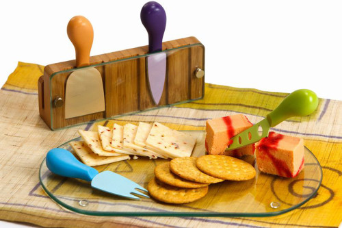 """12"""" Tempered Glass Cheese Board with Molded Accessories & Bamboo Display Holder - IMAGE 1"""