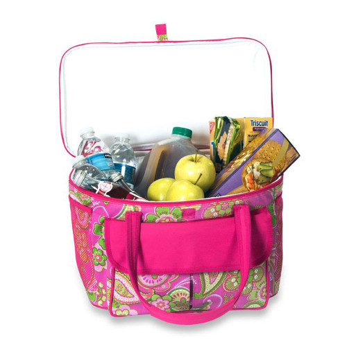"24"" Pink Fashionable Insulated Cooler Bag Beach Tote - 20 Can Capacity - IMAGE 1"