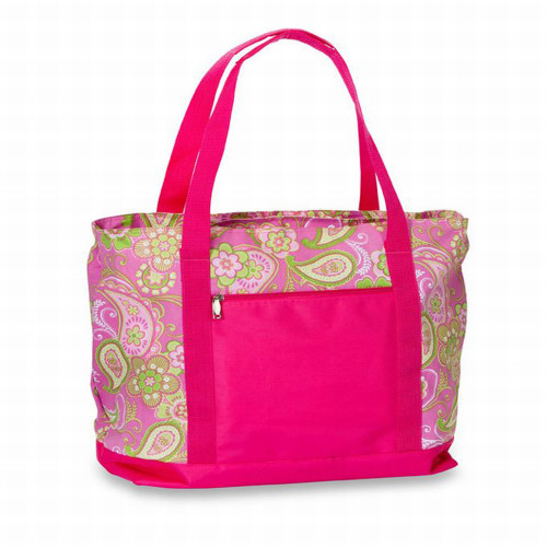 """24"""" Pink Paisley Beach Cooler Bag With Picnic Accessories - IMAGE 1"""
