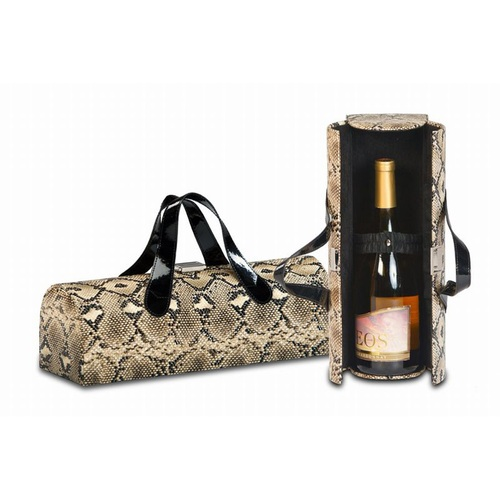 "14"" Brown and Black Snake Print Fashion Avenue Flirtatious Single Wine Bottle Box Clutch - IMAGE 1"