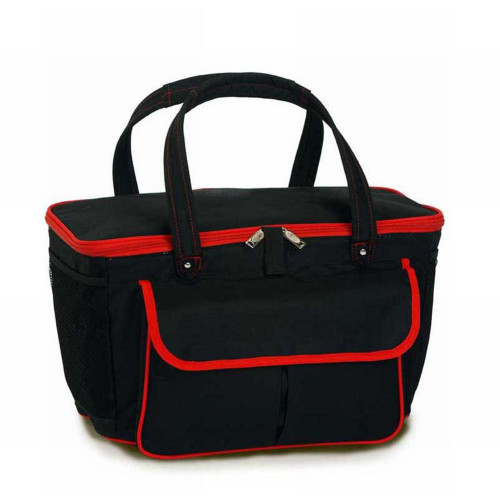 "24"" Black and Red Fashionable Insulated Cooler Bag Beach Tote - 20 Can Capacity - IMAGE 1"