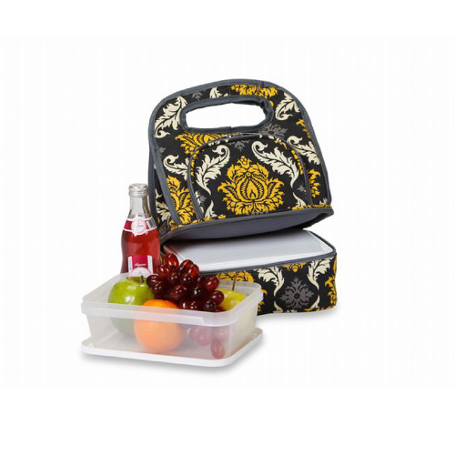 """Pack of 2 Black and Yellow Fully Insulated Lunch Bags with Food Container 12"""" - IMAGE 1"""