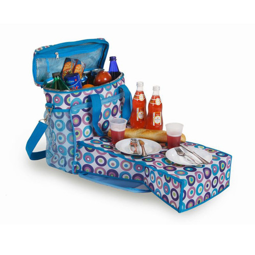 "14"" Blue Polka Dots Can Insulated Cooler Beach Tote with Collapsible Mini-Table - IMAGE 1"