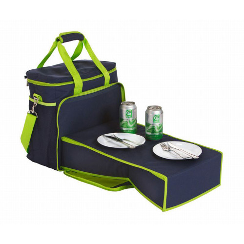 "14"" Navy Blue and Lime Green Can Insulated Cooler Beach Tote with Collapsible Mini-Table - IMAGE 1"