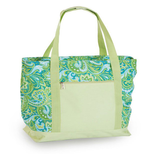 """24"""" Green Paisley Beach Cooler Bag With Picnic Accessories - IMAGE 1"""