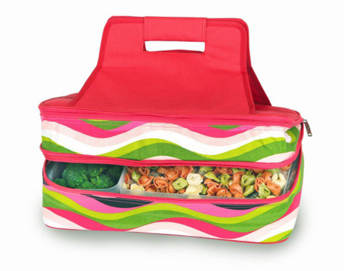 """18"""" Pink White and Green Expandable Hot and Cold Food Carrier - IMAGE 1"""