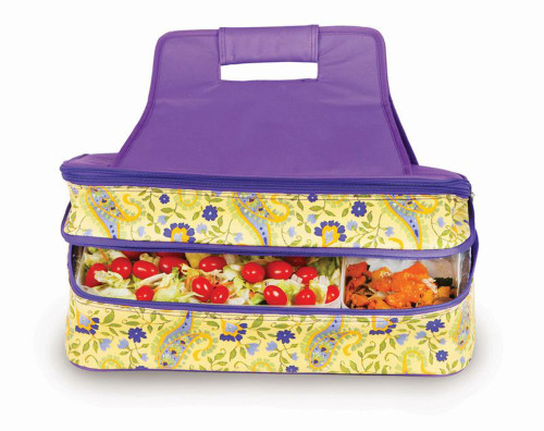 """18"""" Purple and Yellow Expandable Hot and Cold Food Carrier - IMAGE 1"""