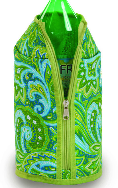 Pack of 2 Green Paisley Insulated 2 Liter Bottle Beverage Jackets - IMAGE 1