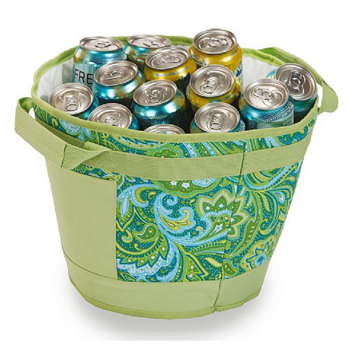 Pack of 2 Insulated Table Top Tub Coolers Holds 18 Cans - Green Paisley - IMAGE 1